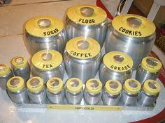 set of kromex yellow canisters kitchens vintage kitchen and vintage