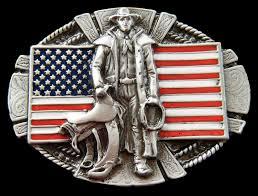 Horse With American Flag American Western Cowboy Belt Buckle