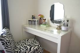 Vanity Table Ideas Simple Diy White Wood Makeup Vanity Table With Glass Top And Wall