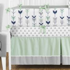 mod arrow gray navy u0026 mint crib bedding set by sweet jojo designs
