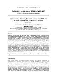 Counseling The Procrastinator In Academic Settings Pdf Academic Self Efficacy Emotional Intelligence Gpa And Academic