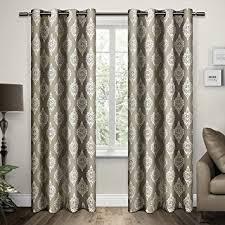 Damask Kitchen Curtains Amazon Com Exclusive Home Curtains Damask Cotton Grommet Top