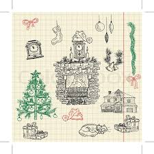 christmas sketch set composed of christmas tree fireplace gift