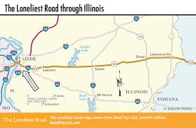 Illinois Interstate Map by The Loneliest Road Us 50 Driving Route Road Trip Usa