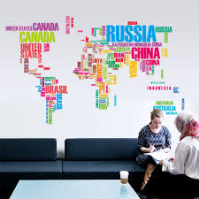 large colour english alphabet world map country name wall sticker