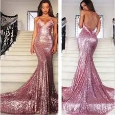 pink sequin mermaid prom dresses spaghetti backless prom