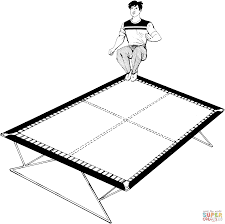trampoline jumping coloring page free printable coloring pages