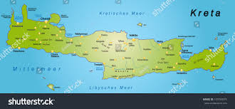 Crete Map Map Crete Overview Map Green Stock Illustration 170784575