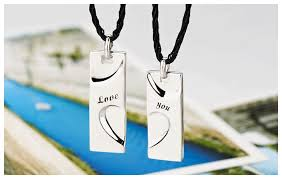 his and hers dog tags you engraved half heart tag necklaces set for couples in