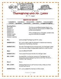 readers theater thanksgiving with mr loony grades 3 6