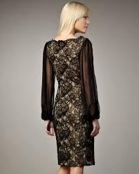 tadashi shoji sheer sleeve lace cocktail dress in black lyst