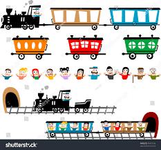 train wagon alternatives different cartoon characters stock vector