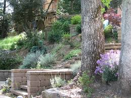 landscaping ideas for hillside backyard complete with wooden