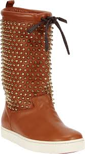 christian louboutin surlapony spiked boot in brown lyst