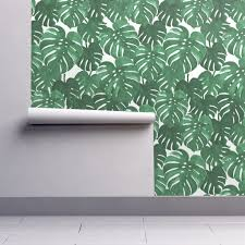 monstera cheese plant painted tropical palms wallpaper by
