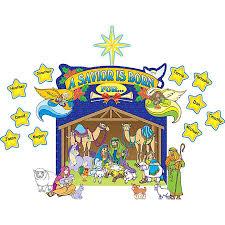 nativity scene bulletin board display set tcr7026 teacher