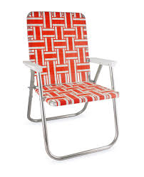 deluxe lawn chair usa orange and white with white arms back in