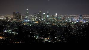 Thanksgiving Day Definition Night Evening Lights Aerial View Los Angeles Downtown American