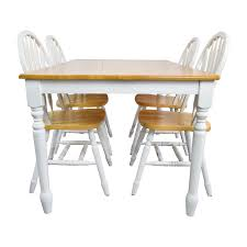 White Wood Dining Tables 63 Off White And Natural Wood Color Dining Set Tables