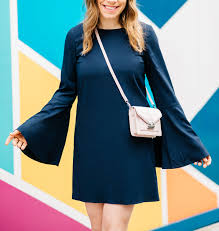 navy blue bell sleeves 70 u0027s inspired style