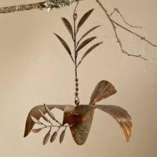 copper hanging dove ornament vivaterra
