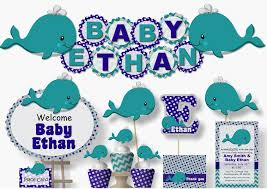 whale baby shower whale baby shower or birthday party decorations bcpaperdesigns