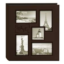 travel photo album 4x6 pioneer collage frame embossed travel sewn leatherette