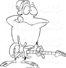 vector cartoon guitarist frog outlined coloring
