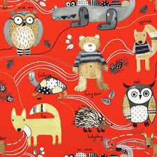 Bird Print Curtain Fabric Nature Trail Red Animal Print Cotton Kids Curtain Fabric From