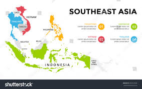 Southeastern Asia Map by Southeast Asia Map Infographic Slide Presentation Stock Vector