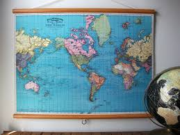 Large Vintage World Map by Large Pull Down Map Educational Chart Vintage Style Wall Hanging