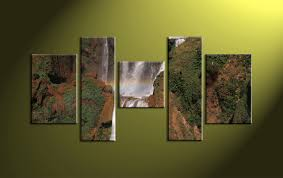 waterfall home decor 5 piece brown scenery canvas waterfall pictures