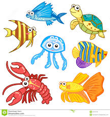 cartoon sea animals set with white background stock images image