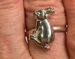 antique rabbit ring holder images Rabbit ring etsy jpg