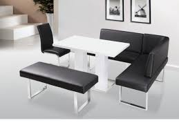 dining room faux leather corner bench with white table dinette set