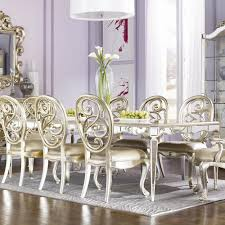 Silver Dining Table And Chairs American Drew Jessica Mcclintock Couture Mirrored Leg Dining Table