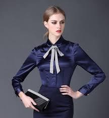womens silk blouses 2016 satin shirt sleeve pan collar silk