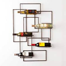 wine rack modern with burnished metal finish frame home interior