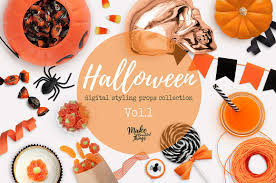 halloween header background halloween digital styling props v 1 product mockups creative