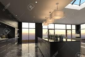 Luxury Kitchen by 3d Rendering Of Modern Luxury Kitchen Interior Stock Photo