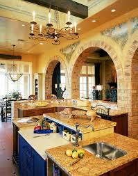 tuscan style kitchen cabinets tuscan brick archs wood ceiling beams wrouth iron light