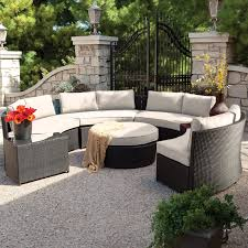 Curved Conversation Sofa by Belham Living Meridian Round Outdoor Wicker Patio Furniture Set