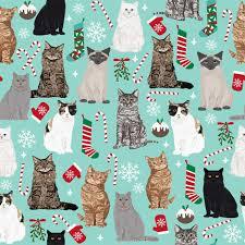 cat christmas christmas cat fabric pattern print candy mistletoe