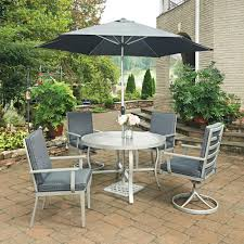 7 Piece Round Patio Dining Set - hampton bay oak cliff 7 piece metal outdoor dining set with chili