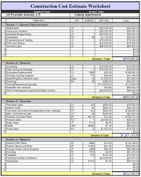 house estimate construction estimating spreadsheet inspirational house construction