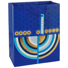 large menorah modern menorah on blue large hanukkah gift bag 13 gift bags