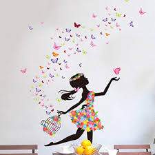 butterfly girl flower removable wall stickers vinyl decal room see larger image