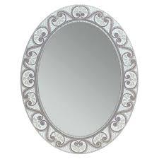 Rhinestone Wall Mirror White Circle Mirror Set Vanity Decoration
