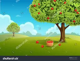 apple orchard basket apples landscape background stock vector