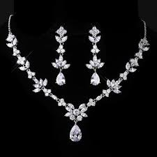 silver zirconia necklace images Pear shaped cubic zirconia necklace set wedding jewellery jpg